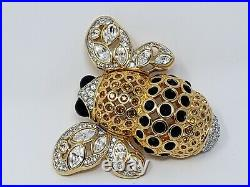 Huge Signed SWAROVSKI Bumble Bee Pin/Brooch-Crystal & Gold Plated