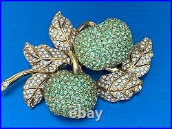 Lovely Ciner Double Green Apple Encrusted Swarovski Crystals Gold Plated Brooch