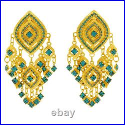 Lunch At The Ritz Turquoise Swarovski Clip Earrings (Goldtone) from Esme's Vault