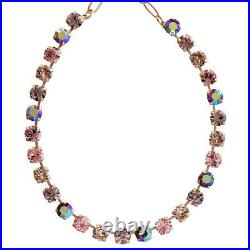 Mariana Rose Gold Flamingo Pink Lavender SHIMMER Swarovski Tennis Necklace WOW