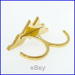 NEW 100% Authentic SWAROVSKI Gold Fit Wonder Woman Sparkle Logo Double Ring 6/7