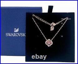 NEW Authentic SWAROVSKI Rose Gold Sparkling Dance Pink Clover Necklace 5514488