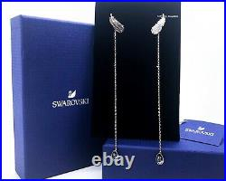 NEW SWAROVSKI Rose Gold Naughty Feather Crystal Pierced Stud Earrings 5495373