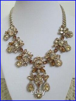 NWT Givenchy Champagne Swarovski Crystal Cluster Drop Charm Statement Necklace