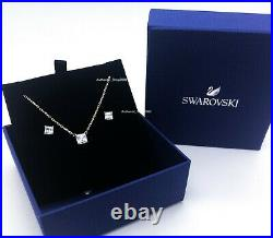 New Authentic SWAROVSKI Gold Attract White Crystal Necklace Earrings Set 5510683