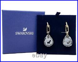 New Authentic SWAROVSKI Gold Sparkling Gray T Bar Pierced Earrings 5566148