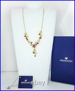 New Authentic SWAROVSKI Gold Tropical Flower Y Leaves Pendant Necklace 5541061