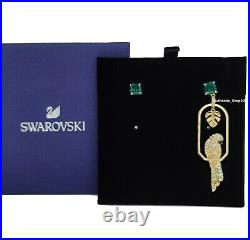 New Authentic SWAROVSKI Gold Tropical Parrot green Crystal Stud Earrings 5519255