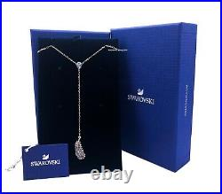New Authentic SWAROVSKI Rose Gold Crystals Feather Y Pendant Necklace 5495299