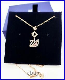 New Authentic SWAROVSKI Rose Gold Dazzling Swan Y Pink Pendant Necklace 5473024