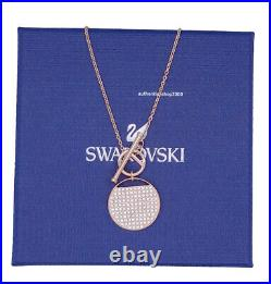New Authentic SWAROVSKI Rose Gold Ginger T Bar Pave Pendant Necklace 5567529
