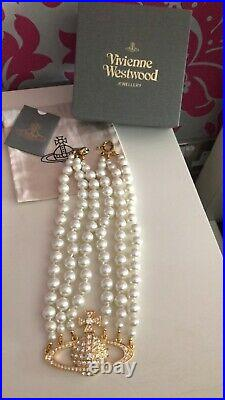 New In Box Vivienne Westwood Swarovski Crystal 3 Row Pearl Gold Choker Necklace