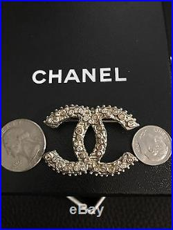 Only 1 New CHANEL Large CC Logo RARE Swarovski Crystals Light Gold Pin Brooch