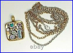 Patricia Locke double Chain Necklace Gold & Silver Water Lily Swarovski Crystals