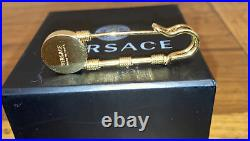 Rare Authentic Versace Gold Plated Safety Pin Medusa Swarovski Crystals Brooch