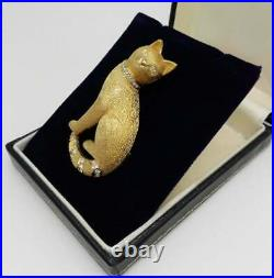 Rare Vintage Grosse Cat Brooch Pin 18ct Gold Plated Set With Swarovski Crystals