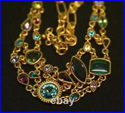 STUNNING Patricia Locke Gold Plate Necklace WATER LILY Swarovski Crystals NWOT