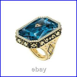 SWAROVSKI 5513248 TAROT MAGIC COCKTAIL RING, BLUE, GOLD-TONE PLATED Authentic