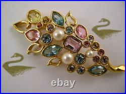 Signed Swarovski Flower Pinbrooch 22kt Gold Plating Retired New With Tags Rare