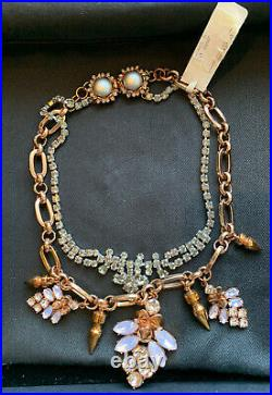 Stunning MAWI Rose Gold-toned Statement Necklace With Swarovski Crystals Bnib