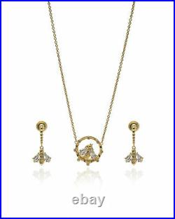 Swarovski Bee A Queen Gold Tone Czech Crystal Necklace And Earring Set 5490887