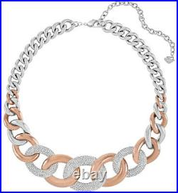 Swarovski Bound Steel Rose Gold Crystal Pavé Chain Necklace for Women 5089276