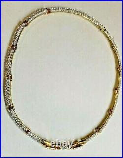 Swarovski Crystal, Choker Collar Necklace, 16.5 Gold Plated Rare / Retired