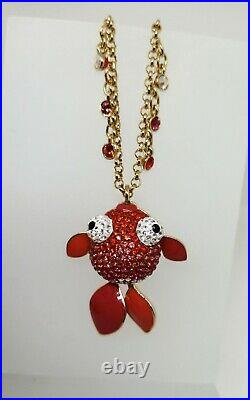 Swarovski Lychee Pendant Small Red & Yellow Gold Fish Pendant & Chain 1097449