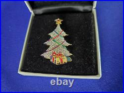 Swarovski Signed Gold Plated Christmas Tree Pin Brooch with Presents and Star
