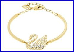 Swarovski Swan Bangle, Gold-Plated Crystal Adjustable Chain Authentic 5083133