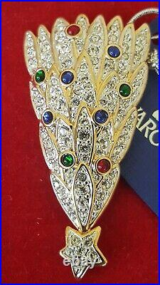 Swarovski Swan Signed Gold Tone Multi-Colors Christmas Tree Brooch With Box