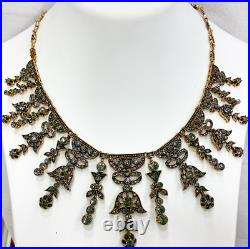 Turkish Jewelry Hurrem Sultan Classic Style Necklace and Earrings Rhinestones
