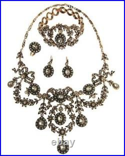 Turkish Jewelry Ottoman Style Sultan's Necklace Set With Rhinestones
