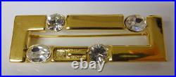 VINTAGE HAUTE COUTURE Modernist GIVENCHY Gold Tone SWAROVSKI crystal Pin Brooch