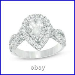 Vera Wang Love 1.7 CT Pear Cut Double Frame Twist Engagement Ring solid 14k Gold