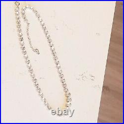 Vintage Christian Dior Made In Germany Gold Plated Swarovski Crystal Necklace