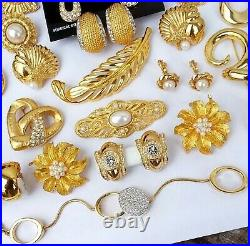 Vintage Gold Tone Jewelry Lot Earrings Necklaces Swarovski Monet D'orlan NOS