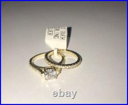 Wedding 18k over Sterling Silver Rings wSwarovski Crystal 2 Piece Set NWT